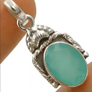 New Aquamarine Chalcedony Sterling Silver Necklace